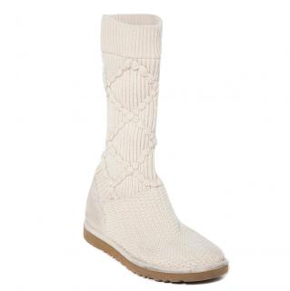 Ugg Knitted Ivory Tall Boots Size 39