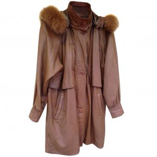 Gianfranco Ferre Leather and Fur Trim coat