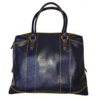 Fendi patent leather blue tote bag