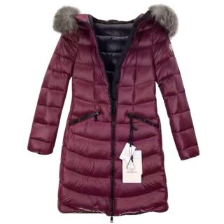 Moncler long coat with fur hood