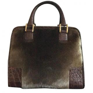Loewe Crocodile And Fur Amazona Handbag