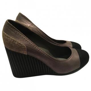 Chanel Grey Wedge Heels