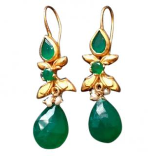 Bespoke Gold plated green onyx earrings