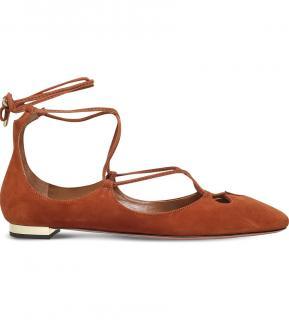 Aquazzura Dancer suede ankle tie Flats shoes 38.5