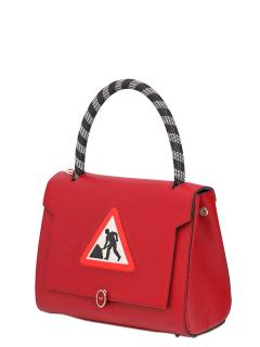 Anya Hindmarch red leather 'men at work' Bathurst Satchel