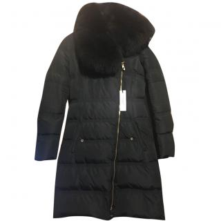 Versace black Fur long padded coat