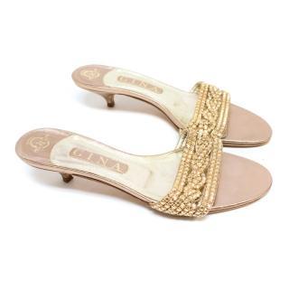 Gina Pink and Gold Kitten Heel Sandals