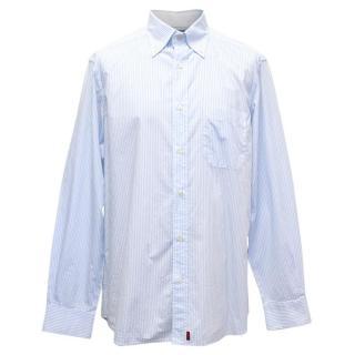 Slam Men's Blue and White Striped Shirt