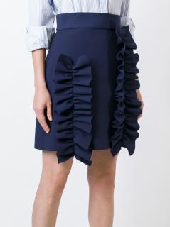 MSGM Navy Ruffled Skirt