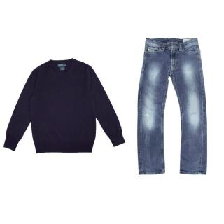 Polo by Ralph Lauren Blue Sweater and Diesel Boys and Jeans