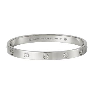 Cartier Love Bangle 18Carat White Gold + 4 Diamonds