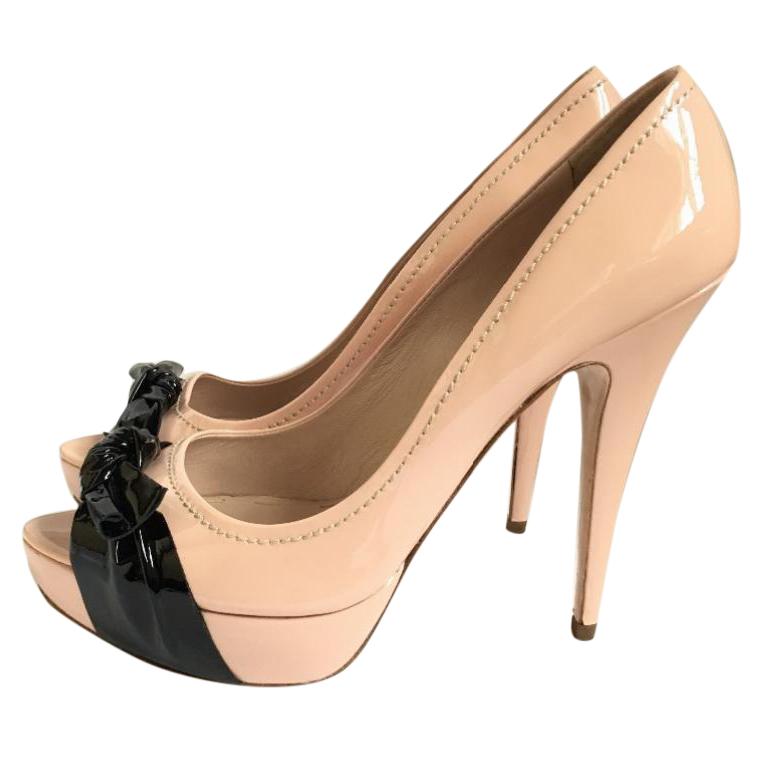 8aa2c947671 Miu Miu Patent Leather Peep Toe Shoes