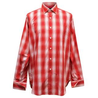 Richard James Men's Ren and White Patterned Shirt