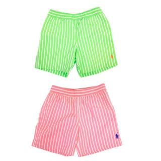 Polo by Ralph Lauren Green and Pink Stripped Swim Shorts