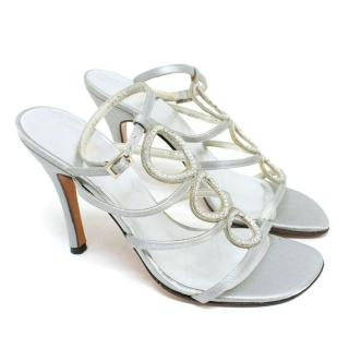 Stuart Weitzman Silver Jewelled Heeled Sandals