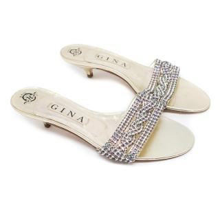 Gina Gold Kitten Heel Sandals With Diamantes
