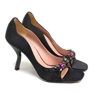 Prada Black Silk Embellished Pumps with Curved Heel