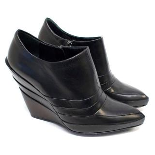 Miu Miu Black Leather Wedges