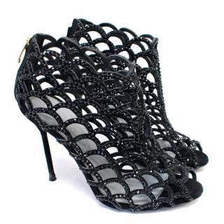 Sergio Rossi Black Heeled Caged Sandals
