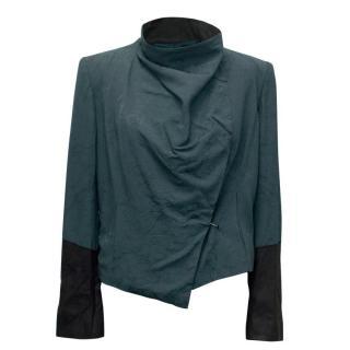 Helmut Lang Blue and Black Leather Jacket