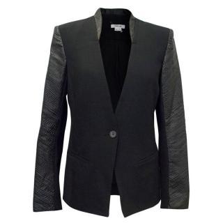Helmut Lang Black Blazer with Black Leather Sleeves