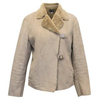 Armani Jeans Taupe Suede Jacket With Faux Fur Lining