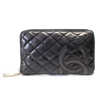 Chanel Black Quilted Leather Zip Wallet