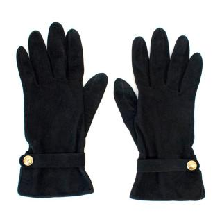Chanel Ladies Black Suede Gloves