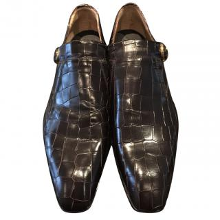 Cesare Paciotti Black Crocodile Print Shoes