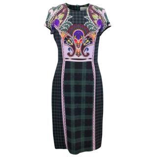 Mary Katrantzou Green Check Print Pencil Dress