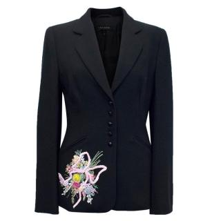 Escada Black Blazer with a Flower Embellishment