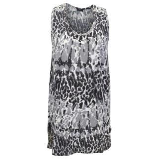 Joseph Grey and White Leopard Print Vest