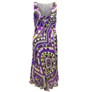 Emilio Pucci Purple and White Patterned Dress
