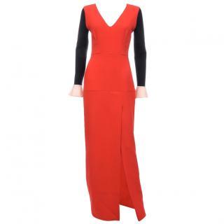Roksanda Contrast Sleeve Wool-Crepe Gown