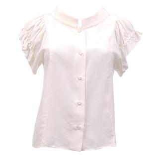 Fendi Silk Gathered Sleeve Blouse