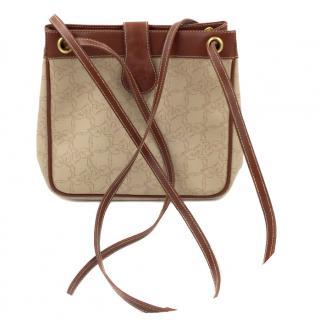 Chloe Brown Leather Floral Vine Leaves Canvas Shoulder Bag Vintage
