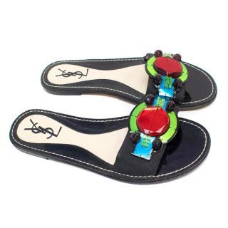 YSL Flat Embellished Sandals
