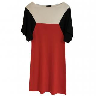 Vionnet Red, Navy Blue & Ivory Dress