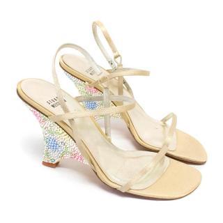 Stuart Weitzman Sandals with Embellished Wedge Heels