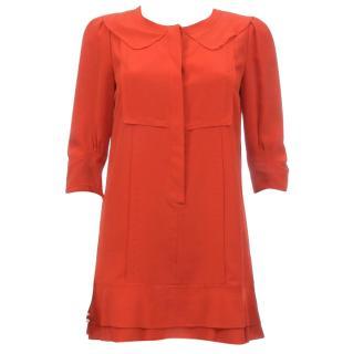 Chloe Vermillon Silk Crepe Dress