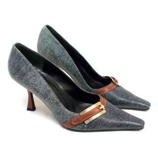 Gianni Versace Grey and Tan Leather Pointed Toe Heels