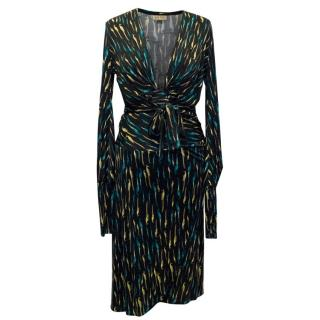 Issa Black Green And Yellow Bird Pattern Dress