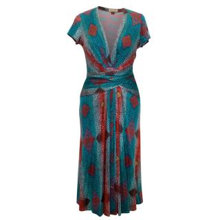 Issa Red And Blue Patterned Dress