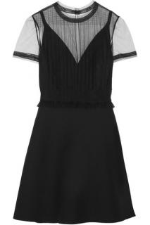 Valentino Tulle Panelled Wool and Silk Crepe Mini Dress