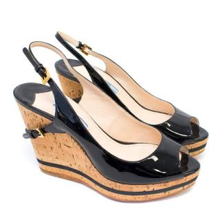 Prada Black Patent Leather and Cork Wedge Heels