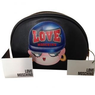 Love Moschino black leather statement clutch