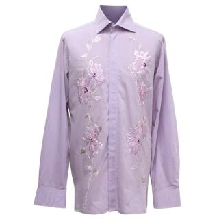 Richard James Purple Floral Embroidered Shirt