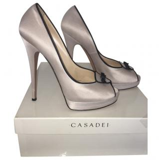 Casadei peep toe in satin beige-rose