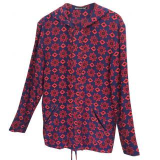 Balenciaga hooded silk floral print jacket