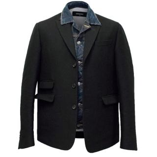 DSquared Men's Black Blazer with Denim Insert